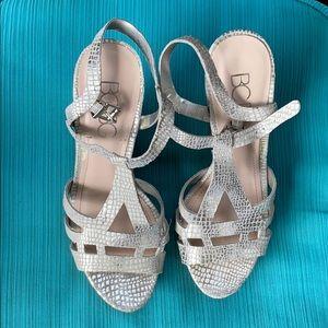 BCBG Strappy Silver Heels